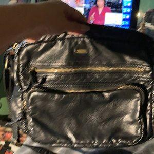 Black Faux Black Leather Shoulder Bag